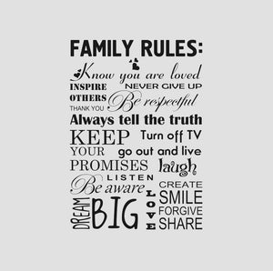 FAMILY RULES QUOTE Sizes Reusable Stencil Modern Romantic Style 'Q9'