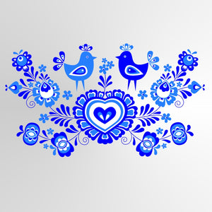 FOLKLORE LOVE ROOSTERS Big & Small Sizes Colour Wall Sticker Floral Romantic Style 'Folk2'