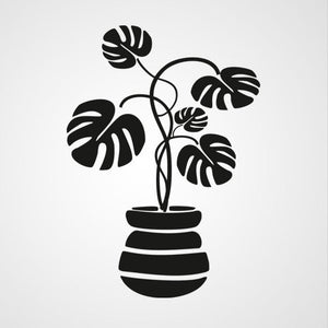 MONSTERA PLANT IN FLOWER POT Big & Small Sizes Colour Wall Sticker Floral 'J11'