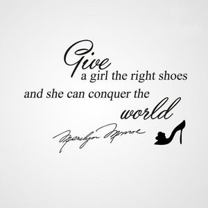 'GIVE A GIRL RIGHT SHOES..'MARILYN MONROE QUOTE Sizes Reusable Stencil Modern 'Q23'