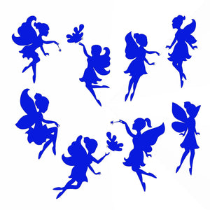 Set of 8 Fairies / Fairy  KIDS ROOM Big & Small Sizes Colour Wall Sticker 'Kids12'