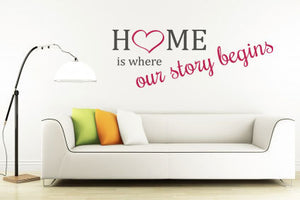 ,,HOME IS WHERE OUR STORY BEGINS'' QUOTE Big & Small Sizes Colour Wall Sticker Modern 'Q55'