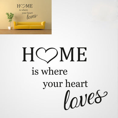 ,,HOME IS WHERE YOUR HEART LOVES'' QUOTE Big & Small Sizes Colour Wall Sticker Modern Style 'Q44'