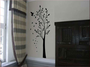 BIRD ON THE TREE FALLING LEAVES Big & Small Sizes Colour Wall Sticker Shabby Chic 'Tree43'