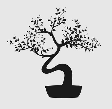 BONSAI TREE IN POT Big & Small Sizes Colour Wall Sticker Modern Floral Shabby Chic Style 'Tree8'