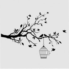 BIRDS IN CAGE ON THE TREE Sizes Reusable Stencil Shabby Chic Romantic Style 'Bird54'