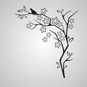 FLOWERS & BIRD CORNER ORNAMENT Big & Small Sizes Colour Wall Sticker Shabby Chic 'J54'