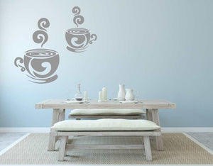 2 CUPS OF FRESH COFFEE Big & Small Sizes Colour Wall Sticker Modern Style 'Cafe4'