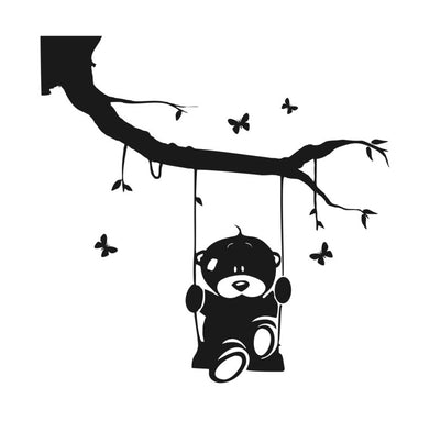 BEAR SITTING ON A SWING KIDS ROOM Sizes Reusable Stencil Animal Happy Valentine's  'Kids20'