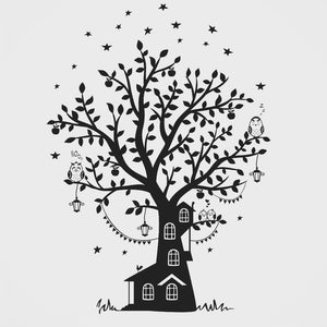 KIDS HOUSE ON THE TREE & OWLS Big & Small Sizes Colour Wall Sticker Happy Kids Style 'Kids47'