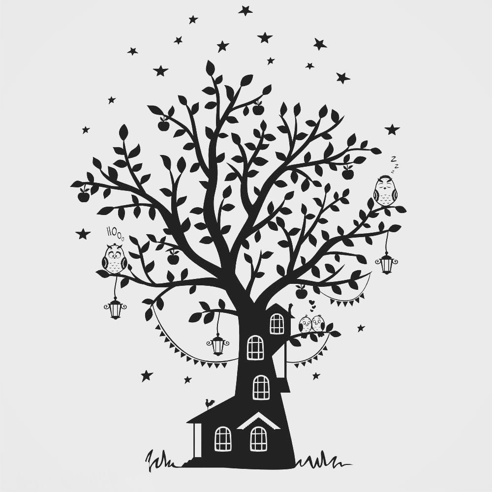 KIDS HOUSE ON THE TREE & OWLS Sizes Reusable Stencil
