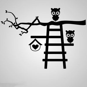 KIDS LADDER & FUNNY OWL Big & Small Sizes Colour Wall Sticker Animal Happy 'Kids81'