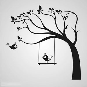 FLOWERS TREE & SWING BIRDS KIDS ROOM Sizes Reusable Stencil Animal Happy 'Kids90'