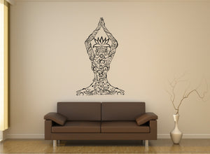 YOGA NAMASTE SKETCH MANDALA LADY Big & Small Sizes Colour Wall Sticker Exotic Oriental 'Namaste'