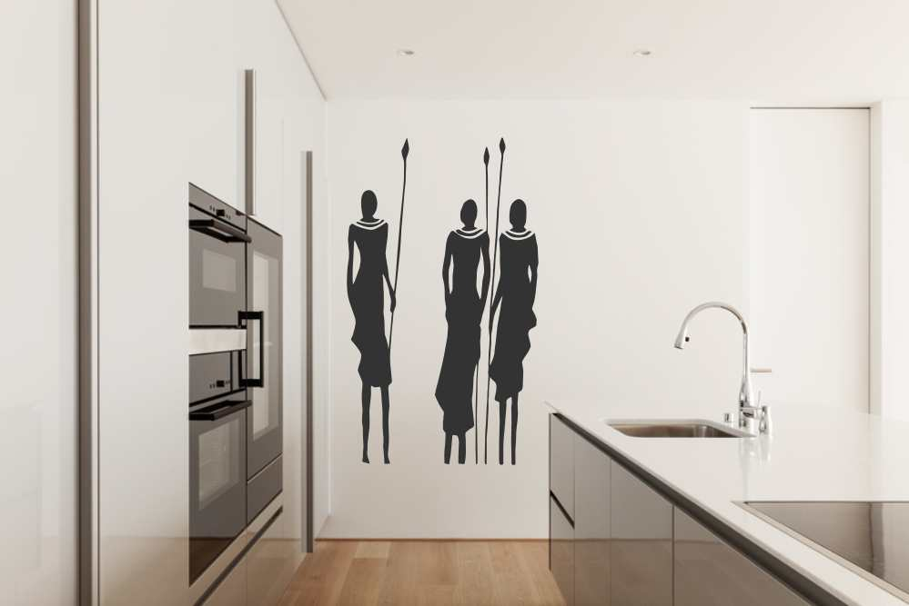 AFRICAN MASAI PEOPLE Big & Small Sizes Colour Wall Sticker Travel Exotic Modern Style 'P10'