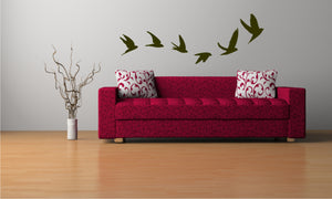 WAVE OF FLYING BIRDS Big & Small Sizes Colour Wall Sticker Shabby Chic Romantic Style 'Birds118'