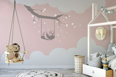 ANGEL ON THE SWING KIDS ROOM Big & Small Sizes Colour Wall Sticker Modern Floral Style 'Kids79'