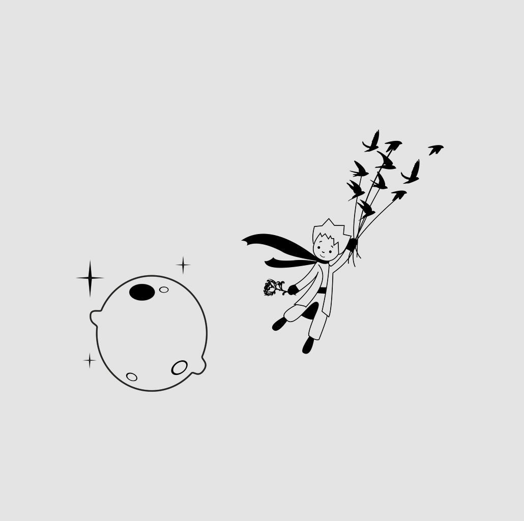 THE LITTLE PRINCE MOON KIDS ROOM Sizes Reusable Stencil Animal Modern Style 'Kids108'