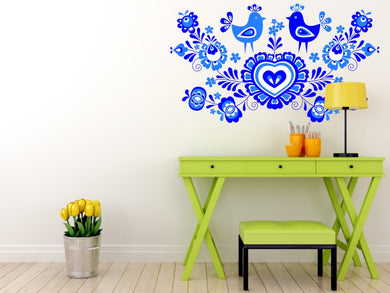 FOLKLORE LOVE ROOSTERS Big & Small Sizes Colour Wall Sticker Floral Valentine's Romantic Style 'Folk2'