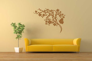 ARTISTIC FLOWERS & BUTTERFLY Big & Small Sizes Colour Wall Sticker Shabby Chic Romantic Style 'CH72'