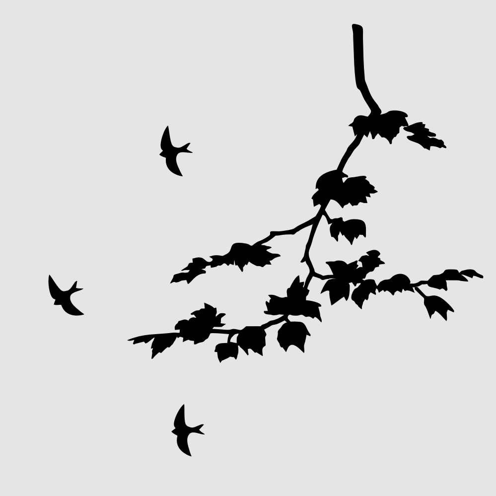 BIRDS & MAPLE TREE BRANCH Sizes Reusable Stencil Shabby Chic Romantic Style 'Tree60'