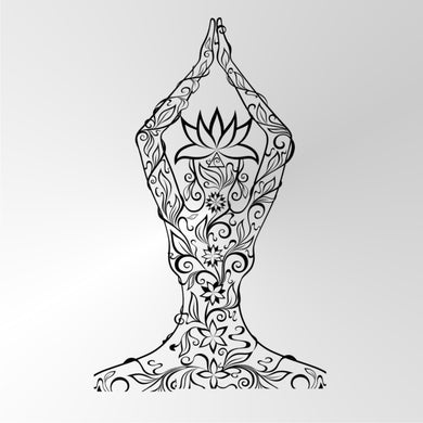 YOGA NAMASTE  SKETCH MANDALA LADY Sizes Reusable Stencil Exotic Oriental Travel 'Namaste'