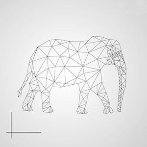 GEOMETRIC ELEPHANT Big & Small Sizes Colour Wall Sticker Animal Modern Kids Room Style 'Kids125'