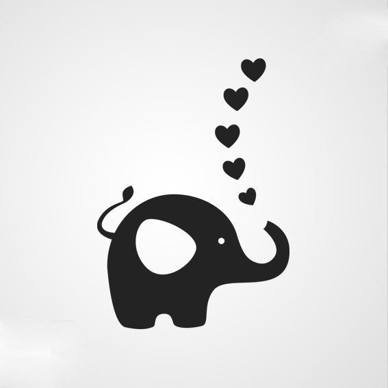 ELEPHANT HEARTS LOVE KIDS ROOM Big & Small Sizes Colour Wall Sticker Modern Style 'Kids8'