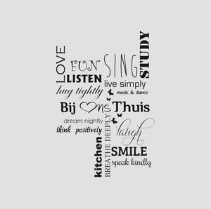 POSITIVE QUOTES LOVE FUN HUG Big & Small Sizes Colour Wall Sticker Modern Style 'Q6'
