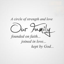 'CIRCLE OF STRENGTH AND LOVE OUR FAMILY..'QUOTE Sizes Reusable Stencil Modern 'Q48'