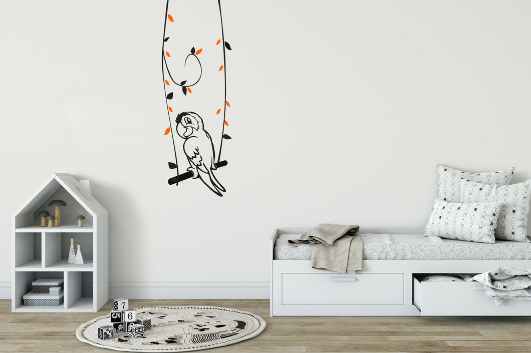 PARROT ON THE SWING KIDS ROOM Big & Small Sizes Colour Wall Sticker Animal Modern Style 'Parrot'