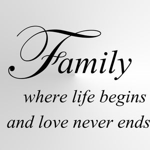 """Family where life begins"" Quote Big & Small Sizes Colour Wall Sticker  'Q73'"