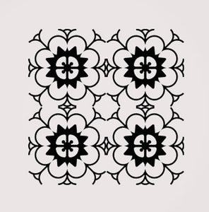 SQUARE BAROQUE MOROCCAN PATTERN Sizes Reusable Stencil Shabby Chic Romantic Style 'B15'