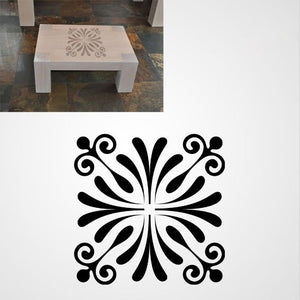 FLOWER SQUARE BAROQUE Big & Small Sizes Colour Wall Sticker Orient Ornamental Style 'B18'