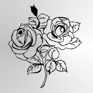 BIG ROSES BOUQUET SKETCH Big & Small Sizes Colour Wall Sticker Floral Valentine's Shabby Chic Style 'Rose2'