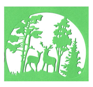 Christmas Trees Deers in Forest Bauble/ Winter Cards Decoration Reusable Stencil Various Sizes / SNOW13