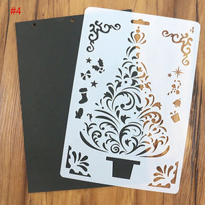 Christmas Tree Ornaments / Winter Cards Decoration Reusable Stencil Various Sizes / SNOW7