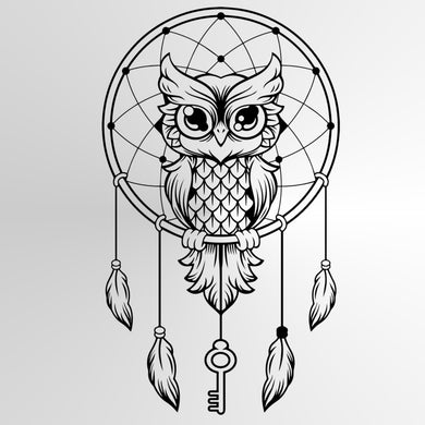 DREAM CATCHER OWL Sizes Reusable Stencil Animal Happy Bohemian Style 'Geo3'