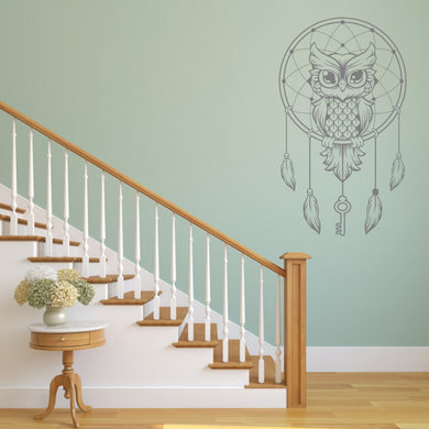 DREAM CATCHER OWL Big & Small Sizes Colour Wall Sticker Animal Bohemian Style 'GEO3'
