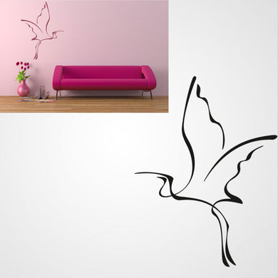FLYING HERON ARTISTIC SKETCH Big & Small Sizes Colour Wall Sticker Animal Kids Room 'Kids145'