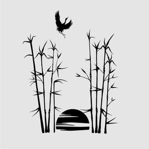 JUNGLE SUNSET BAMBOO & WILD BIRD Sizes Reusable Stencil Oriental 'Bamboo3'