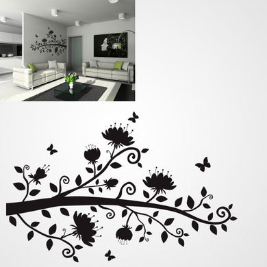 TREE BRANCH WITH FLOWERS AND BUTTERFLIES Big & Small Sizes Colour Wall Sticker Floral Style 'J12'