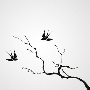 TREE BRANCH WITH SWALLOW Big & Small Sizes Colour Wall Sticker Tree Floral Animal 'J31'