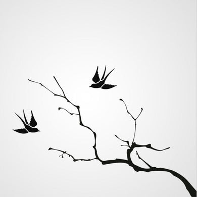 TREE BRANCH WITH SWALLOW Sizes Reusable Stencil Orient Shabby Chic 'J31'