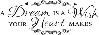 DREAM WISH HEART QUOTE Big & Small Sizes Colour Wall Sticker Modern Wall Decor Decoration 'N89'