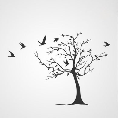 Single tree with birds Reusable stencil Sizes Modern Floral Style 'Tree12'