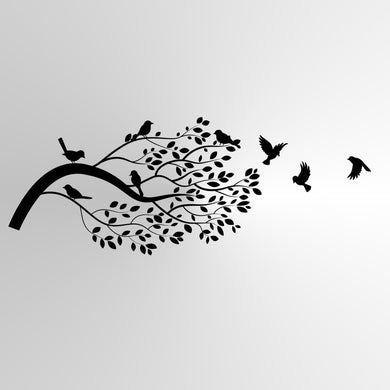 Branch with Birds Sizes Reusable Stencil Shabby Chic Floral Style 'Tree16'