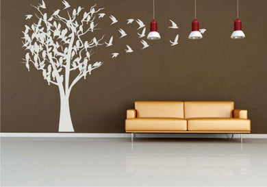 TREE FULL OF BIRDS Big & Small Sizes Colour Wall Sticker Shabby Chic Romantic Style 'Tree46'