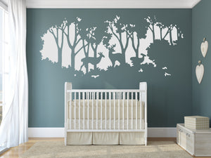 FOREST TREE ANIMALS DEER NATURE Big & Small Sizes Colour Wall Sticker Decor SNOW8