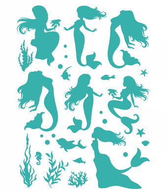 Set of Ocean Mermaids Mermaid Siren KIDS ROOM Big & Small Sizes Colour Wall Sticker 'Kids11'